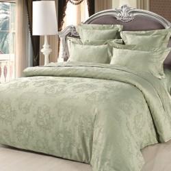 Комплект двуспальный из сатина-жаккарда цвета зеленого чая
