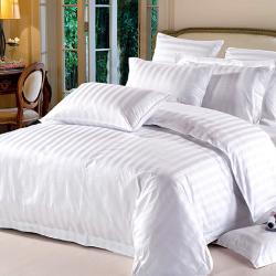 Комплект 1,5-спальный из белого сатина-жаккарда в полоску