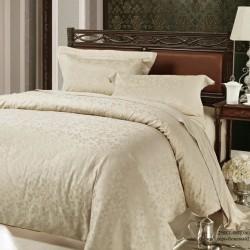 Комплект 1,5-спальный из бежевого сатина-жаккарда