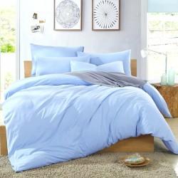 Комплект 1,5-спальный из голубого сатина