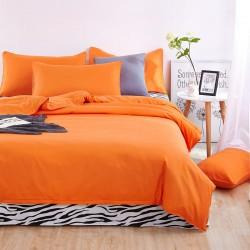 Комплект 1,5-спальный из оранжевого сатина