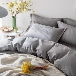 Комплект 1,5-спальный из серого сатина-жаккарда в полоску